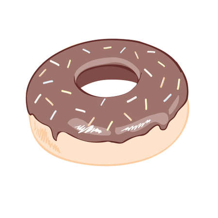 Chocolate glazed doughnut top view for cake cafe decoration or menu design. Vector flat isolated illustration Illustration