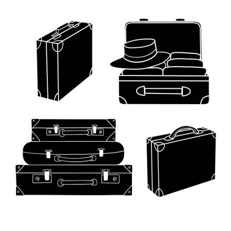 Set of different luggage illustrated on white Illustration