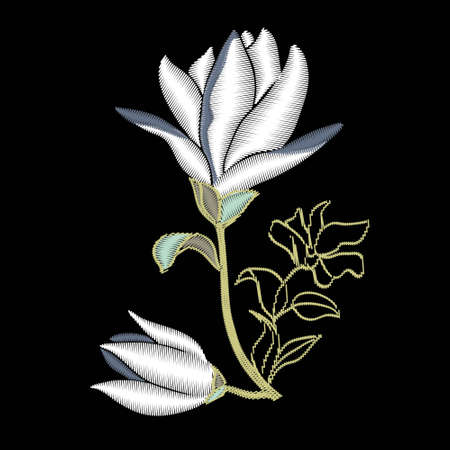 Embroidery floral with magnolia on black background. Vector fashion ornament