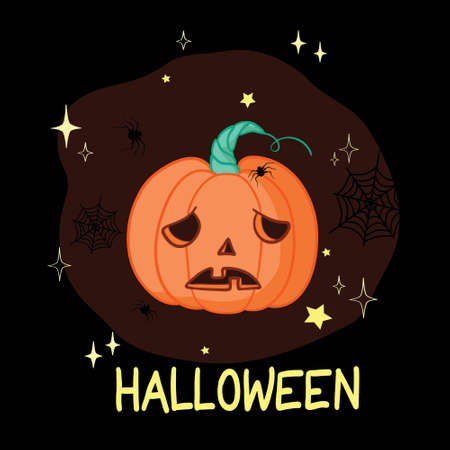 Cartoon halloween pumpkin wearing witch hat isolated Illustration
