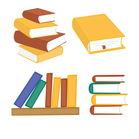 Stack of multi colored books. Vector illustration.