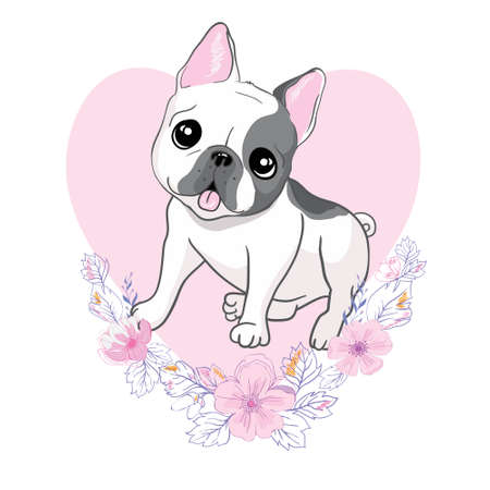 vector close-up portrait of a domestic dog of the French bulldog breed on the background of a heart