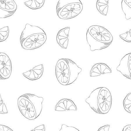 seamless pattern with lemons on the white background. Vector illustration. Hand drawn background. Illustration