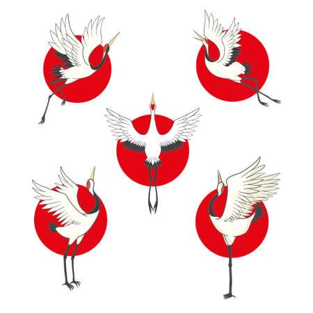 Crane bird set. illustration on white background 版權商用圖片 - 150590708