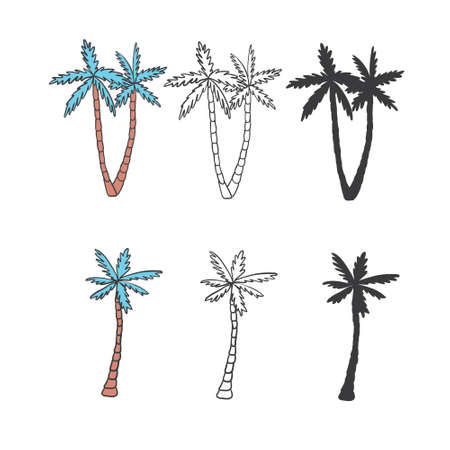 Set of palm tree icons black silhouettes isolated tropical palm.