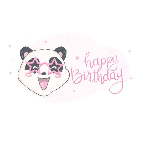 Happy birthray cute panda, sticker. 版權商用圖片 - 150590710