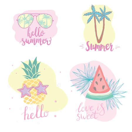 Summer set with hand-drawn tropical elements, inscriptions, watermelon, palm, glasses, pineapple 版權商用圖片 - 154688418