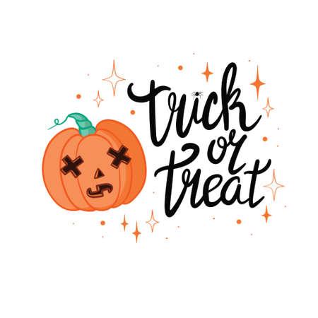 Halloween - Happy Halloween! Vector, illustration of pumpkin and lettering. 版權商用圖片 - 154688420