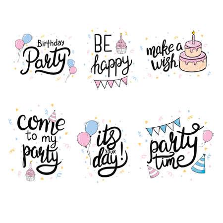 Vector illustration of Happy Birthday. Design element for greeting cards, banner, print. Birthday party lettering set. 版權商用圖片 - 154688422