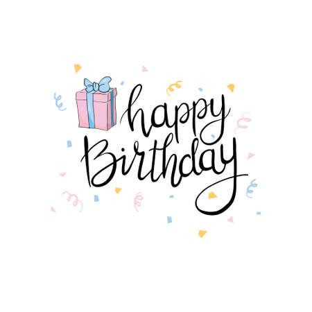 Lettering. Happy Birthday Hand-drawn card. Vector illustration 版權商用圖片 - 154688423