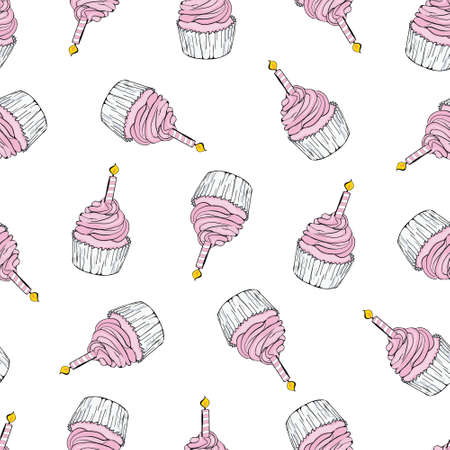 Seamless happy birthday cake and decoration background pattern in vector