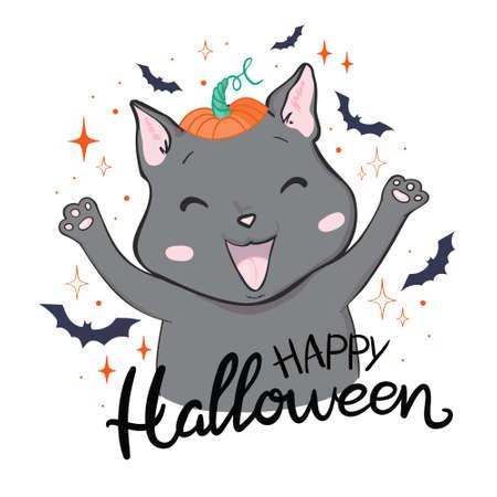 Black cat in a happy Halloween. Vector, illustration. 版權商用圖片 - 154688425