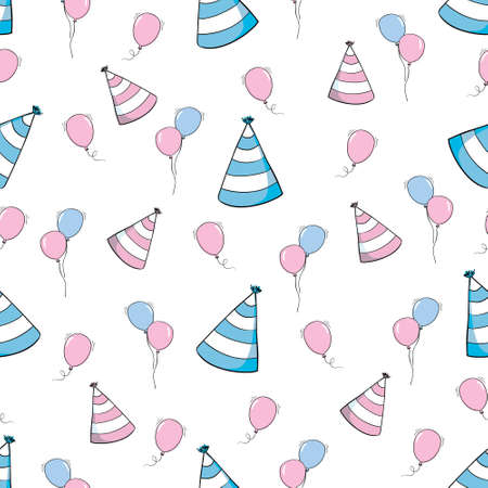 Hand drawn birthday seamless pattern with cupcakes, balloons, gift boxes etc in black and white 版權商用圖片 - 154688427