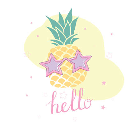 Cute vector background with a pineapple. Hand drawing summer card. 版權商用圖片 - 154688429