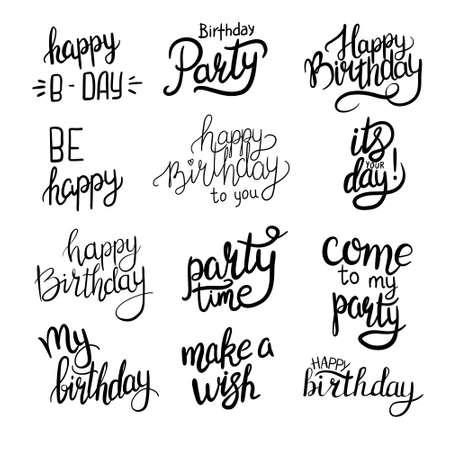 Lettering. Happy Birthday Hand-drawn card. Vector illustration 版權商用圖片 - 154688432