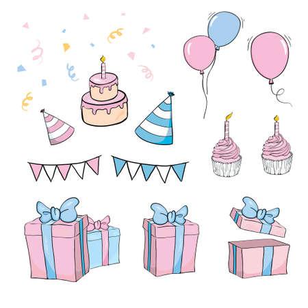 vector illustration of set of birthday object against white background