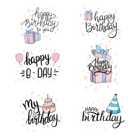 Vector illustration of Happy Birthday. Design element for greeting cards, banner, print. Birthday party lettering set.