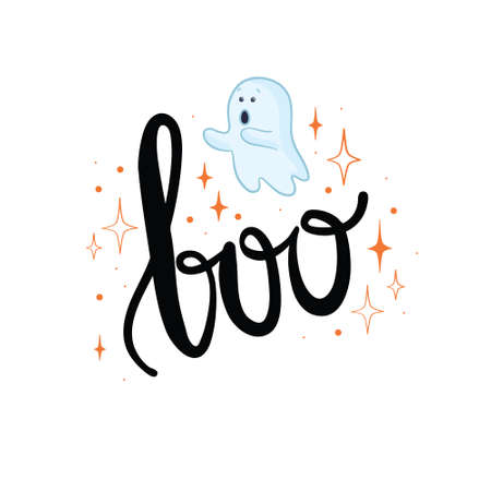 Flying Ghost Ghost the inscription of Boo. Happy Halloween. Scary white ghosts. Cute cartoon creepy character. Smiling face, hands. Vector illustration 向量圖像