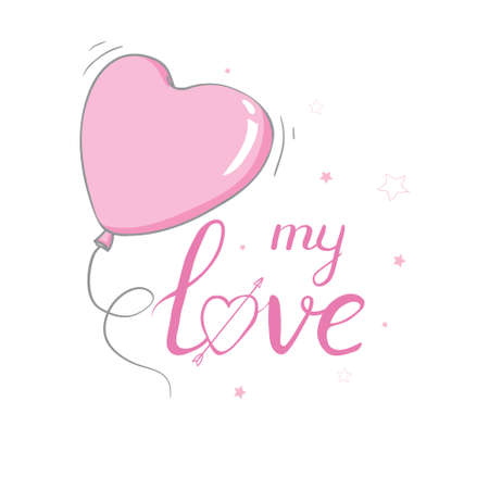 Happy Valentine's Day lettering with hearts. Hand drawn romantic phrase. Romantic hand drawn phrase. Vector illustration 版權商用圖片 - 154688492