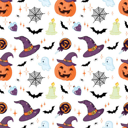 Halloween pattern with orange pumpkins and bats on white 向量圖像