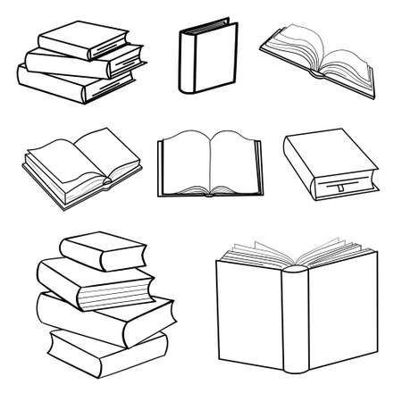 Set of sketches of books. Vector illustration. 版權商用圖片 - 154688498