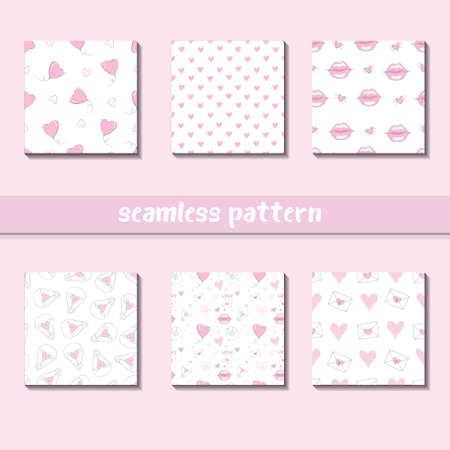 Seamless heart pattern on paper texture. Valentine's day background 版權商用圖片 - 154688499