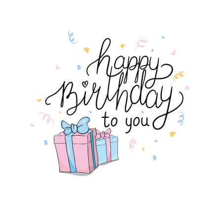 Lettering. Happy Birthday Hand-drawn card. Vector illustration 版權商用圖片 - 154688501