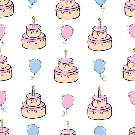 Seamless happy birthday cake and decoration background pattern in vector 版權商用圖片 - 154688505
