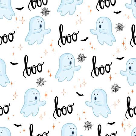 Halloween background. Seamless pattern of cute cartoon ghosts. 版權商用圖片 - 154688506
