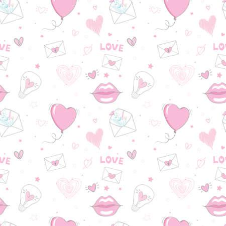 Seamless heart pattern on paper texture. Valentine's day background 版權商用圖片 - 154688507