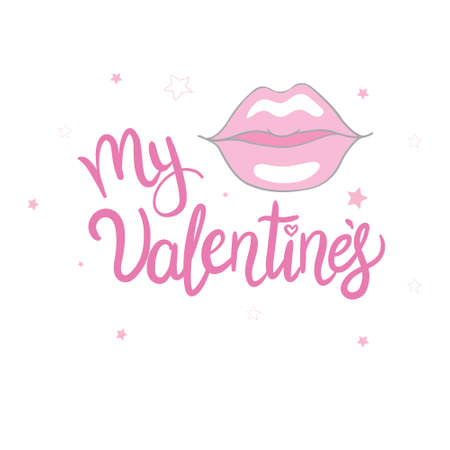 Happy Valentine's Day lettering with hearts. Hand drawn romantic phrase. Romantic hand drawn phrase. Vector illustration 版權商用圖片 - 154688508