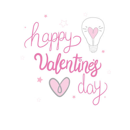 Happy Valentine's Day lettering with hearts. Hand drawn romantic phrase. Romantic hand drawn phrase. Vector illustration