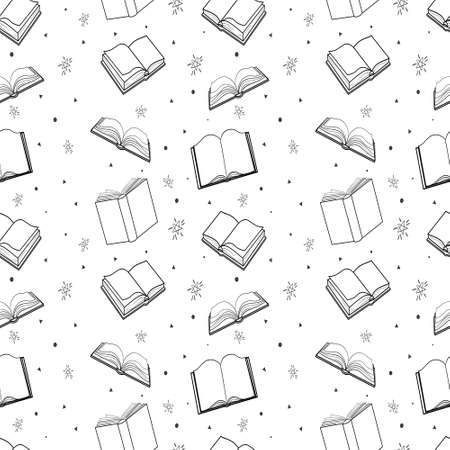 Seamless pattern with outline decorative books. Vector illustration 向量圖像
