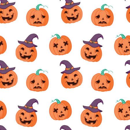 Halloween seamless pattern design with pumpkin 向量圖像