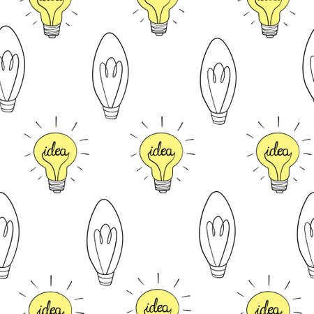 Seamless vector pattern, texture or background with light bulbs turn on and off random. For website design, blog, desktop wallpaper, scrapbook, invitation and card. 向量圖像