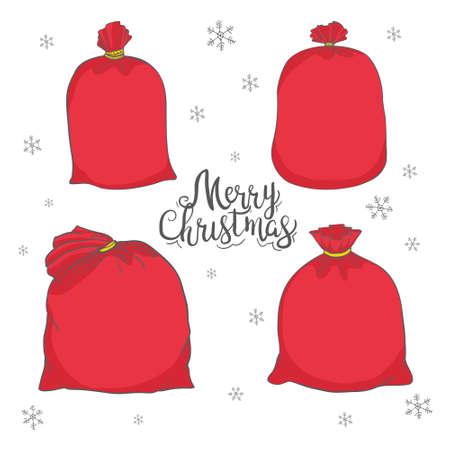 Big set of bags Santa Claus, vector bag. Illustration of a Christmas bag. Santa Claus red bag