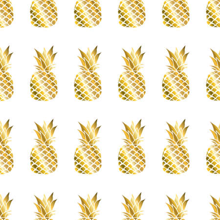 Gold pineapple on colored background. Seamless pattern in vector. Fruit illustration