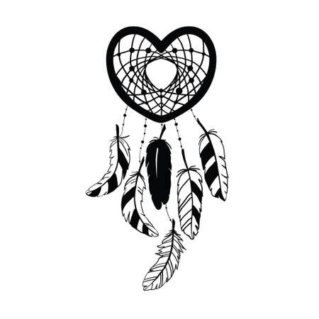 The Dreamcatcher's silhouette is decorated with feathers and beads. Hand-drawn vector illustration.