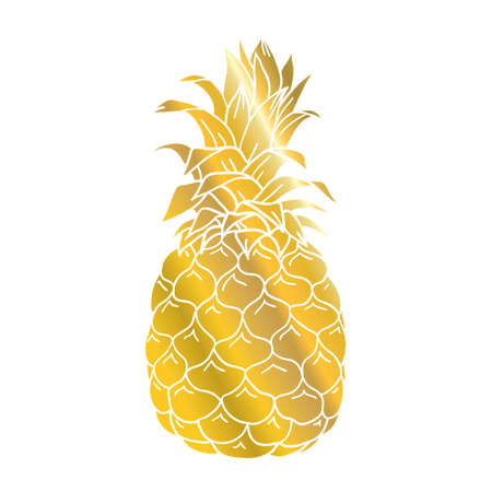 Pineapple gold icon. Tropical fruit, isolated on white background. Symbol of food, sweet, exotic and summer, vitamin, healthy. Nature logo. Design element Vector illustration 版權商用圖片 - 154688551