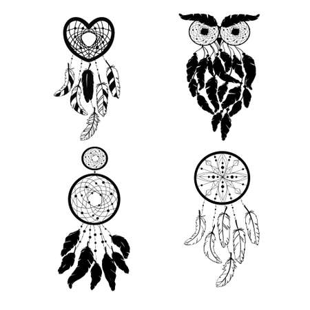 Set of Dreamcatcher silhouettes, ethnic vector illustration isolated on a white background. Suitable for printing on a t-shirt 版權商用圖片 - 154688553