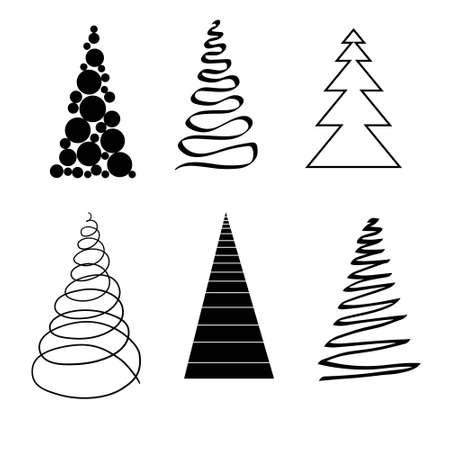 Christmas Trees Set, stylized, Isolated on White Background, Winter Holiday Symbols. Vector 版權商用圖片 - 154688555