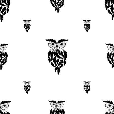 Vecto rseamless background, retro pattern, ethnic doodle collection, tribal design. Hand drawn illustration with indian dreamcatchers and feathers on the white background 版權商用圖片 - 154688557