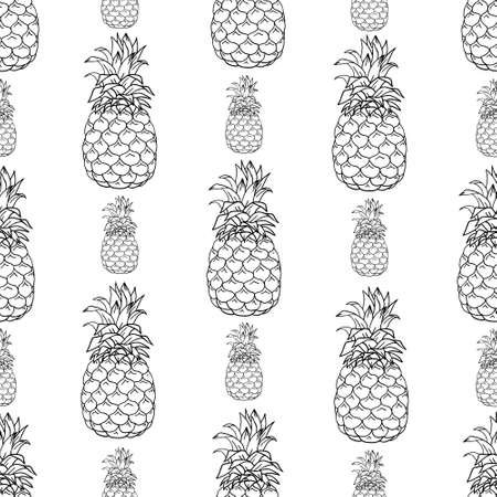 Seamless pattern with pineapples. Graphic stylized drawing. Vector illustration 版權商用圖片 - 154688558