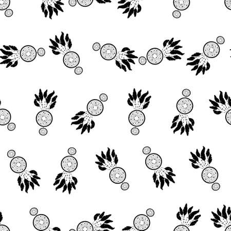 Vecto rseamless background, retro pattern, ethnic doodle collection, tribal design. Hand drawn illustration with indian dreamcatchers and feathers on the white background 版權商用圖片 - 154688560