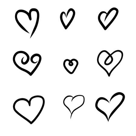 Set of heart sketches isolated on white background. Vector illustration. 版權商用圖片 - 154688561