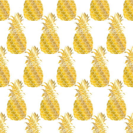 Seamless summer gold pineapple on colored background. Seamless pattern in vector. Fruit illustration 版權商用圖片 - 154688563