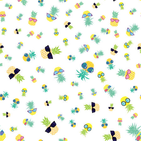 Pineapple funny Glasses seamless pattern for fashion print, summer texture, wallpaper, graphic design, tropical background, fruit illustration in vector 向量圖像