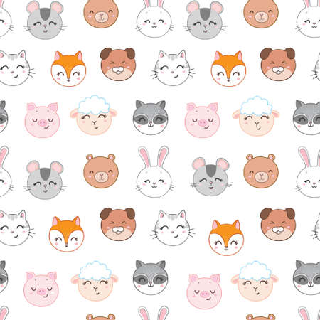 Seamless childish pattern with funny animals faces. Creative scandinavian kids texture for fabric, wrapping, textile, wallpaper, apparel. Vector illustration 版權商用圖片 - 154688567