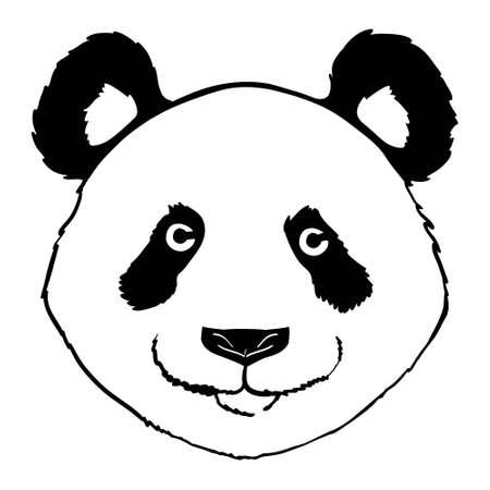 Panda head face front view illustration vector. 版權商用圖片 - 154688571