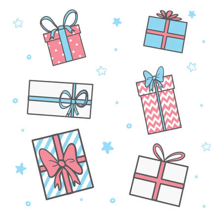 Set of colorful gift boxes with fashionable ribbons and bows isolated. Present box. Decorative stylish wrap for presents package gift. Modern packing gift product. Gifts collection web icon. Vector 向量圖像